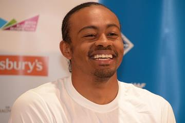 Aries Merritt at the pre-event press conference for the 2013 IAAF Diamond League in London (Kirby Lee)