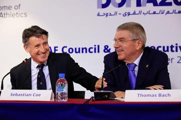 IAAF President Sebastian Coe and IOC President Thomas Bach ahead of ther IAAF World Athletics Championships Doha 2019 (Getty Images)