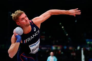 Kevin Mayer in the heptathlon shot put at the IAAF World Indoor Championships Birmingham 2018 (AFP / Getty Images)