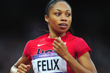 Allyson Felix in the 200m at the London 2012 Olympic Games (Getty Images  )