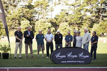 Arthur Lydiard (NZL) - World Athletics Heritage Plaque ceremony, Auckland, New Zealand, Sunday 23 Feb 2020: Left to right = Cameron Taylor, Geoff Gardner, Mike Ryan, Roy Lydiard, Barry Magee, Gary Lydiard, Jeff Julian, Heather Matthews, Bill Rodger, Bryan Rose (Alisha Lovrich Photography)