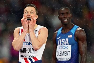 Karsten Warholm and Kerron Clement after the 400m hurdles final at the 2017 World Championships (Getty Images)