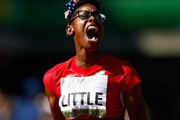 Shamier Little wins the 400m hurdles at the IAAF World Junior Championships, Oregon 2014 (Getty Images)