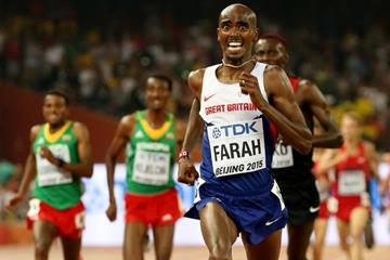 Mo Farah on his way to winning the 5000m at the IAAF World Championships, Beijing 2015 (Getty Images)