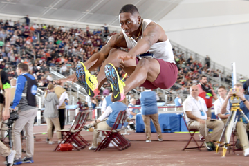 Will Williams wins the long jump at the NCAA Indoor Championships (Kirby Lee)