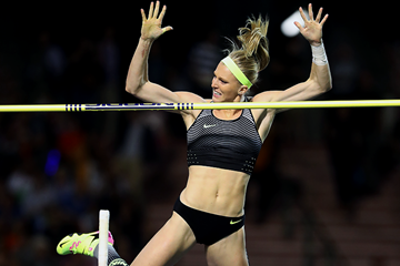 Sandi Morris wins the pole vault at the IAAF Diamond League final in Brussels (Giancarlo Colombo)