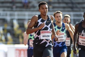 Donavan Brazier on his way to winning the 800m at the Diamond League meeting in Stockholm (Deca Text & Bild)