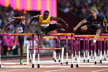 Omar McLeod in the 110m hurdles at the IAAF World Championships London 2017 (Getty Images)