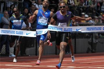 Walter Dix takes the win ahead of Tyson Gay in the Prefontaine Classic in Eugene - Samsung Diamond League (Kirby Lee)