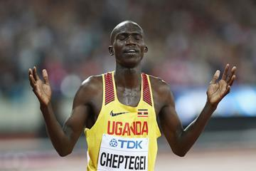 Joshua Cheptegei after taking the silver medal over 10,000m at the IAAF World Championships London 2017 (Getty)
