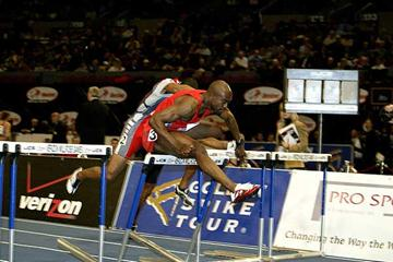 Allen Johnson wins the 60m Hurdles at the Millrose Games (Victah Sailer)