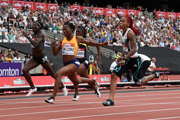 Marie Josee Ta Lou wins the 100m at the IAAF Diamond League meeting in London (Kirby Lee)