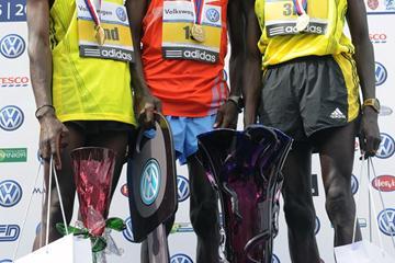 Prague Marathon men's podium: Winner Patrick Ivuti (c), runner-up Stephen Kibiwott (l) and third-placer Kenneth Mungara (r) (organisers)