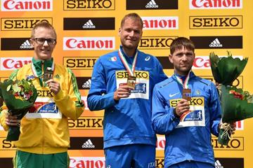 50km medallists Jared Tallent, Alex Schwazer and Igor Glavan at the IAAF World Race Walking Team Championships Rome 2016 (Getty Images)