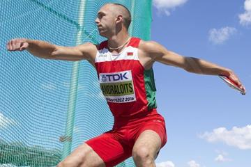 Maksim Andraloits of Belarus competes in the decathlon discus throw at the IAAF World U20 Championships Bydgoszcz 2016 (Getty Images)