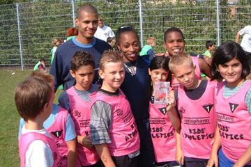 Snachez and Devers at Kids Athletics in Berlin (IAAF)
