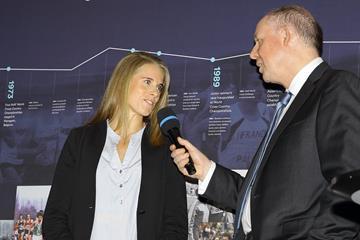 Sara Slott Petersen at the opening ceremony of the IAAF Heritage XC Display in Aarhus (LOC)