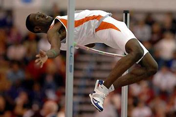 Donald Thomas sails over 2.33m - NCAA indoors (Kirby Lee)
