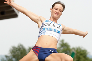 Katerina Cachova in the heptathlon long jump (AFP / Getty Images)