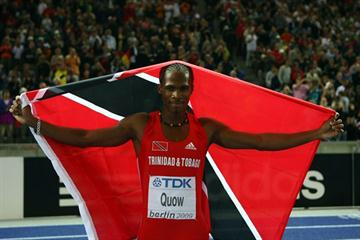 Renny Quow of Trinidad and Tobago celebrates winning the bronze medal in the men's 400m final at the 12th IAAF World Championships in Athletics (Getty Images)