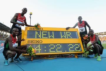 (L-R) Silas Kiplagat, Asbel Kiprop, James Kiplagat Magut and Collins Cheboi of Kenya after setting a world record of 14:22.22 in the men's 4x1500m at the IAAF World Relays (Getty Images)