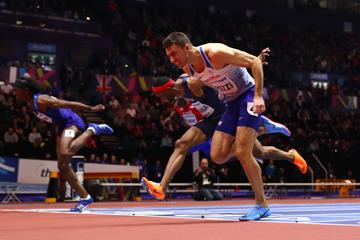 Andrew Pozzi wins the 60m hurdles at the IAAF World Indoor Championships Birmingham 2018 (Getty Images)