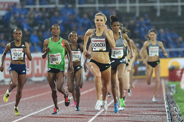 Angelika Cichocka wins the 1500m at the IAAF Diamond League meeting in Stockholm (Hasse Sjogren)