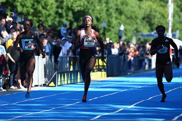 Tori Bowie wins the 100m at the Adidas Boost Boston Games (Getty Images)