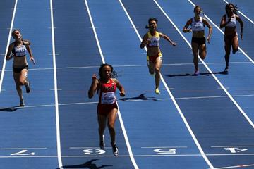 Lauren Rain  Williams in the 200m heats at the IAAF World Youth Championships, Cali 2015 (Getty Images)