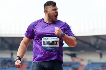 Konrad Bukowiecki, winner of the shot put in Ostrava (AFP / Getty Images)