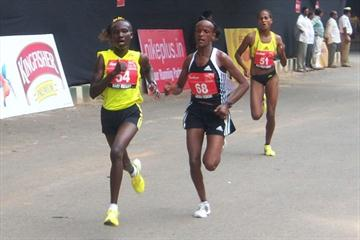 Mary Keitany, Aberu Kebede and Aselefech Mergia in Bangalore. Mergia won the race with a sensational sprint in the waning metres. (Ram. Murali Krishnan)