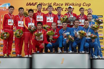 The men's 20km team podium: Russia, China and Ukraine (Getty Images)