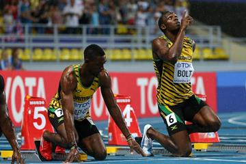 Usain Bolt in the men's 100m final at the IAAF World Championships Moscow 2013 (Getty Images)