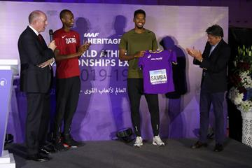Mutaz Essa Barshim and Abderrahman Samba at the IAAF Heritage Exhibition launch in Doha (Karim Jaafar)