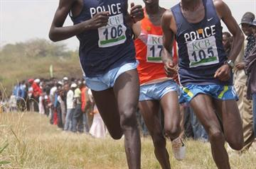 Geoffrey Mutai leads Mathew Kisorio and Vincent Kiprop in Nairobi (Stafford Ondego (The Standard))