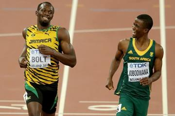 Usain Bolt wins his 200m semi-final from Anaso Jobodwana at the IAAF World Championships, Beijing 2015 (Getty Images)