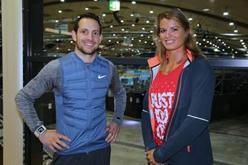 Renaud Lavillenie and Dafne Schippers ahead of the 2016 Indoor Meeting Karlsruhe (Jean-Pierre Durnad)
