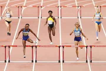 Dalilah Muhammad en route to the world record in the 400m hurdles at the IAAF World Championships Doha 2019 (Getty Images)