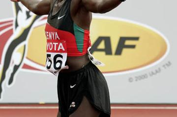 Catherine Ndereba of Kenya celebrates winning silver in the women's marathon (Getty Images)