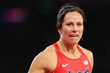 Jennifer Suhr of the United States reacts as she competes in the Women's Pole Vault final on Day 10 of the London 2012 Olympic Games at the Olympic Stadium on August 6 2012 (Getty Images)