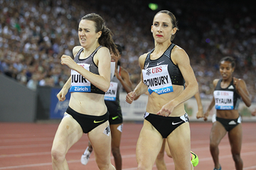 Laura Muir and Shannon Rowbury in the 1500m at the IAAF Diamond League meeting in Zurich (Jean-Pierre Durand)