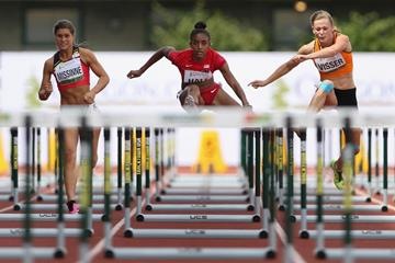 Dior Hall in the 100m hurdles at the IAAF World Junior Championships, Oregon 2014 (Getty Images)