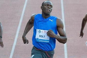 Usain Bolt storms back with a 9.82 100m in Lausanne in 2010 (Deca Text&Bild)