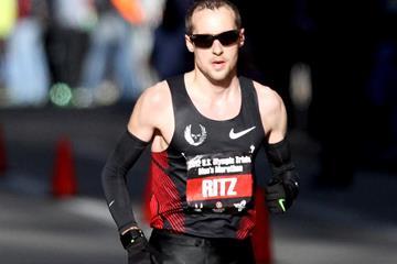 Dathan Ritzenhein in action in the men's marathon (Getty Images)