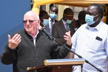 Colm O'Connell, the 2019 World Athletics Coach of the Year, speaks during the unveiling of Iten's World Athletics Heritage Plaque on 3 December.  (Jared Nyataya)