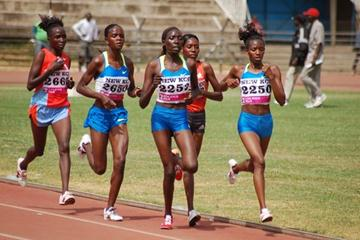 Lucy Wangui Kabuu (2250) leading Peninah Arusei, Linet Masai (2253), Grace Momanyi (2650), and Alice Timbilli (2667) in the Kenyan 10,000m trials (Ricky Simms)