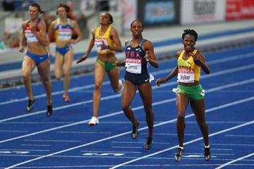 Melaine Walker of Jamaica crosses the line to win the gold medal in the women's 400m Hurdles Final in Berlin (Getty Images)