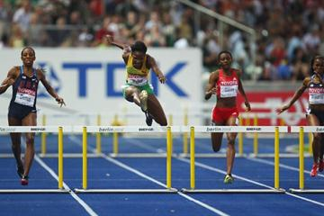 Olympic Champion Melaine Walker adds the World Championships title to her collection with the 400m Hurdles Championship Record and the second quickest time in history of 52.42 seconds (Getty Images)