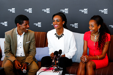 Haile Gebrselassie, Genzebe Dibaba and Almaz Ayana speak to the press ahead of the IAAF Athletics Awards 2016 (Philippe Fitte / IAAF)