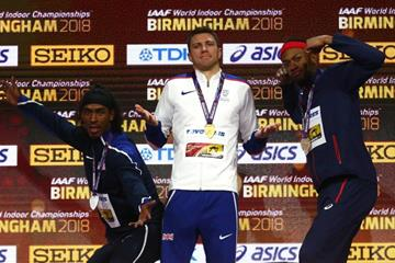 60m hurdles medallist Jarret Eaton, Andrew Pozzi and Auel Manga at the IAAF World Indoor Championships Birmingham 2018 (Getty Images)